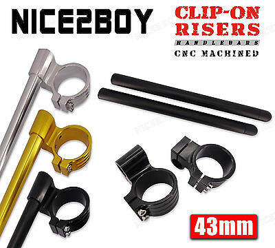 """43mm CNC 1"""" Raised Clipons Handlebars For Clip-On Forks Universal Motorcycle"""