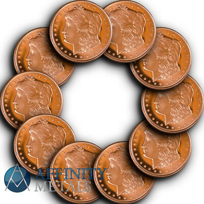 10 Coins-  Morgan Dollar 1/2 oz .999 Copper Bullion Rounds