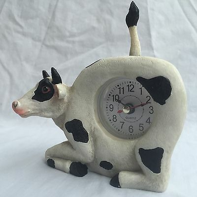 EASTER SALE Critter Clock Holstein Cattle Cow Tabletop Wagging Tail