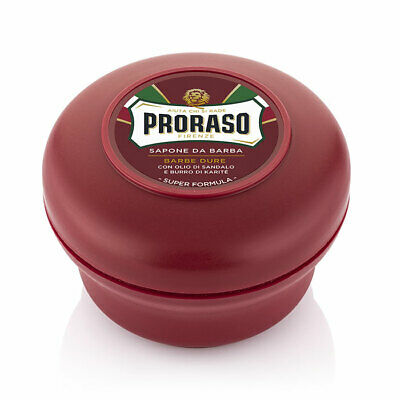 Proraso shaving soap cream 150ml red bowl / jar / tub Sandalwood and Shea Butter