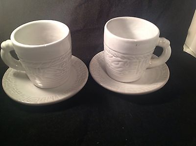 Frankoma Mayan White Sand 5 oz. Cups 7C & Saucers 7E Set of 2