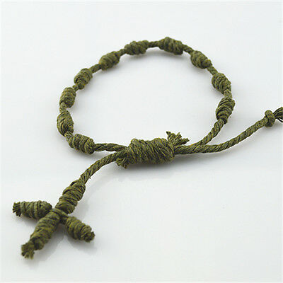 Lot of 3 pcs Religious Christian Green Knot Cord Rope Bracelet With Rope Cross