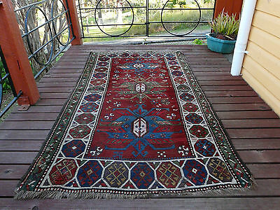 GENUINE RARE ANTIQUE CAUCASIAN GENDJE PILE RUG 1890s