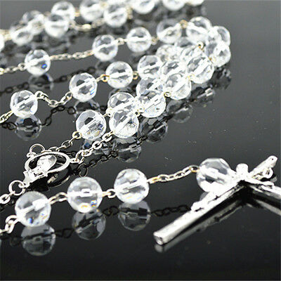 Clear Glass Crystal Cut Shape Beads Religious Christian Holy Rosary With Cross