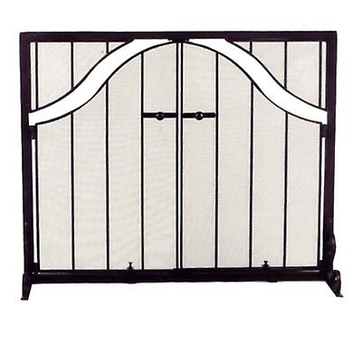 Fireplace Screen Wrought Iron with Arched Doors