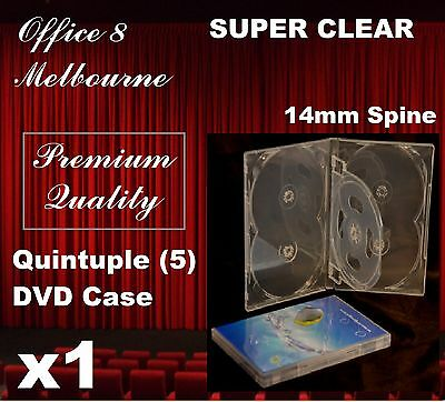 1 x PREMIUM QUALITY Quintuple 5 DVD Case Cover 14mm - Holds 5 CD/DVD