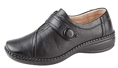 Womens Ladies Extra Wide EEE Fit Touch Fastening Casual Shoes Size 3 - 9 BLACK