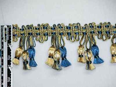 "2"" Attractive Tassel Fringe Trim Gold Navy Wholesale 40 Yards"