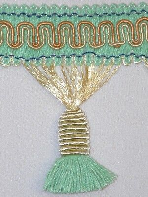 "3"" Delightful Tassel Fringe Trim Lt Gold Aqua Wholesale 50 Yards"