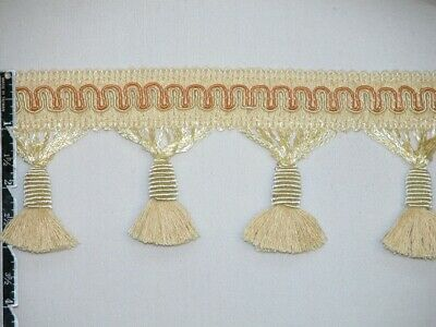 "3"" Delightful Tassel Fringe Trim Ivory Lite Gold Wholesale 50 Yards"