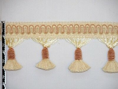 "3"" Delightful Tassel Fringe Trim Lt Gold Bronze Wholesale 50 Yards"