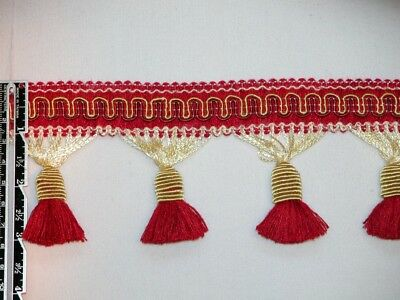 "3"" Delightful Tassel Fringe Trim Gold & Red Wholesale 50 Yards"