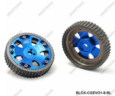 RACING ADJUSTABLE BLUE CAM GEAR GEARS PAIR fits MITSUBISHI LANCER EVO 4 5 6 7 8