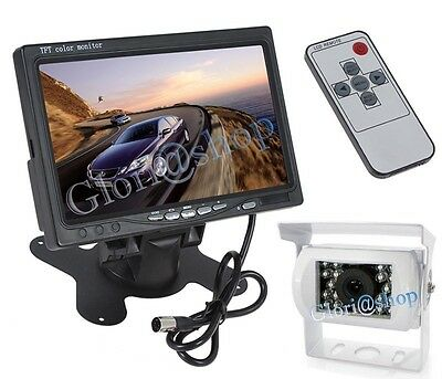 "Kit Monitor 7"" Lcd Telecamera 18 Led Retromarcia Auto Camera Ccd Retrocamera"