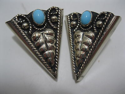 Cowboy/Cowgirl Collar Tips #59 - Silver & Turquoise