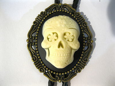 Cameo Bolo Tie #422B - Day of the Dead Sugar Skull with Bronze Frame