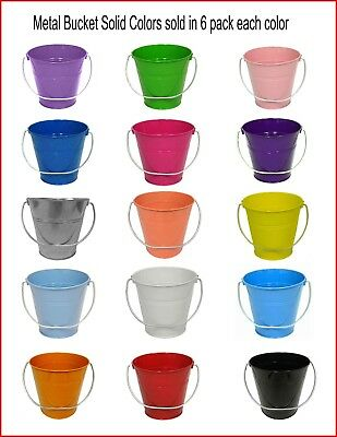 """Metal Bucket Solid Colors Size 5.6 x 6"""" 6 Pack"""