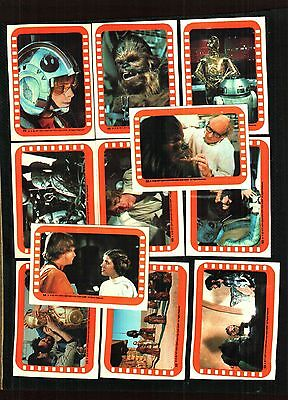 1977 Topps Star Wars Series 5 Orange All 11 Stickers Ex. To Near Mint Condition