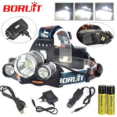 13000Lm 3xXM-L2 LED Rechargeable Headlamp HeadLight Torch USB Lamp+18650+Charger