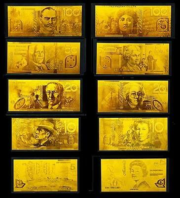 24KT 99.99% Gold Australian Bank Note Set Limited Edition Rare Banknote Album