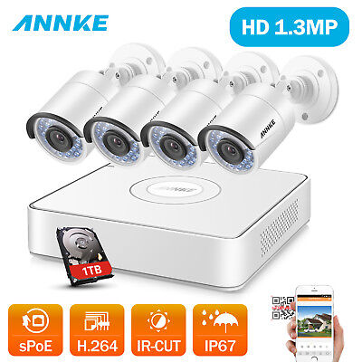SANNCE 4CH CCTV NVR Network Record PoE 960P HD Outdoor Security Camera System 1T