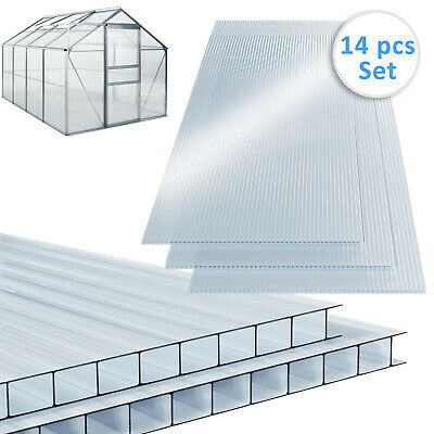 14x Polycarbonate Greenhouse Sheets 11m² Twin Wall Replacement Hallow Clear