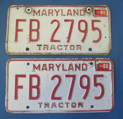 1980 Maryland Tractor license plates matched pair