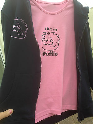 Girls zip up hoodie jacket club penguin puffle with matching tshirt