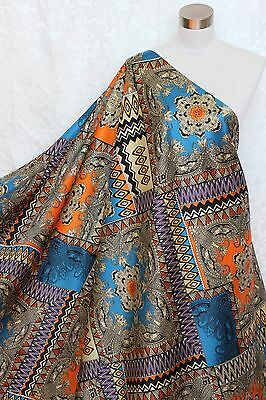 100% Charmeuse Silk Fabric European Paisley M64 Per Yard