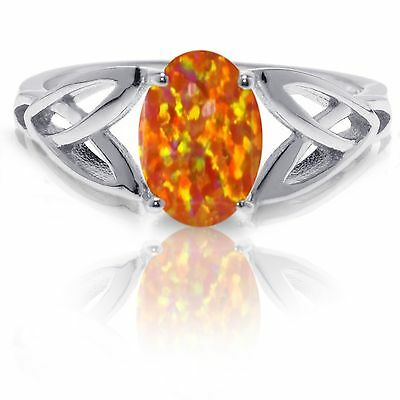 Mexican Orange Fire Opal Infinity Celtic Oval Cut Birthstone Silver Ring