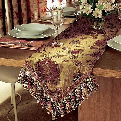 "HEAVY QUALITY TAPESTRY ANTIQUE GOLD PERIOD STYLE TABLE RUNNER.13"" x 90""~33x229cm"
