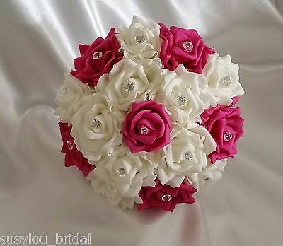 PINK CERISE IVORY Wedding Bridesmaids Flower Girl Posy Satin Ribbon Diamantes