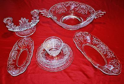 FOSTORIA~CORSAGE~ 46 Piece Collection - Cups, Saucers, Plates, Relish Trays