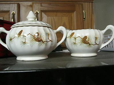 W.S. George PINECONES Ridged Ceramic -  LIDDED SUGAR BOWL & CREAMER Gold Trim
