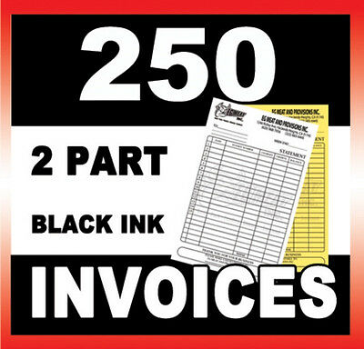 250 Sets 2 Part Ncr Carbonless Invoices Forms Custom Printed Top Quality Paper