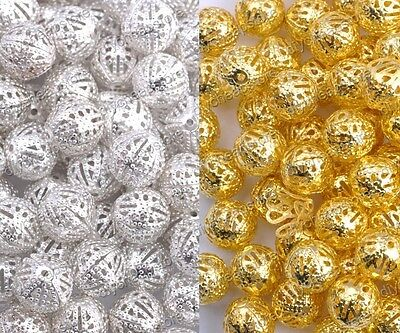 GOLD SILVER PLATED Metal FILIGREE Round Spacer BEADS -Choose 4MM 6MM 8MM 10/12MM