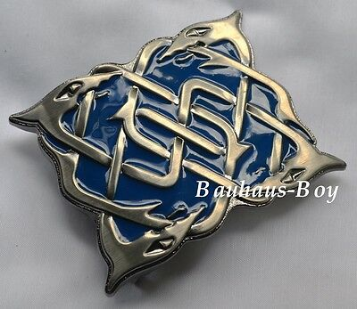 Kilt Belt Buckle Celtic Highland Serpent Design Antique And Blue Enamelled Kilts