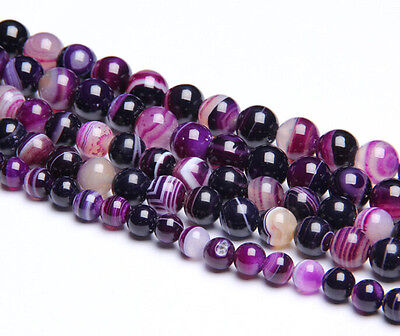 Natural Purple Striped Agate Gemstone Loose Spacer Bead Charm 4/6/8/10/12mm DIY