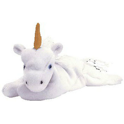 TY Beanie Baby - MYSTIC the Unicorn (tan horn & yarn mane) (8 inch) - MWMT's