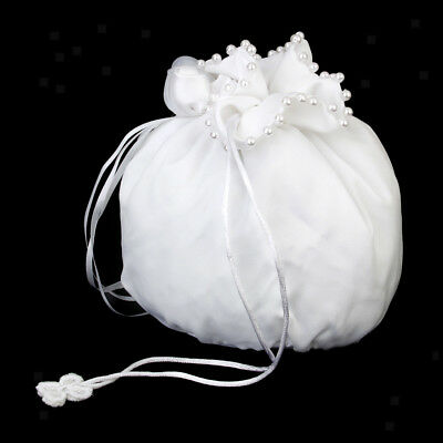 White Satin & Pearls Wedding Bridal Flower Girl Prom Pouch Dolly Bag Handbag