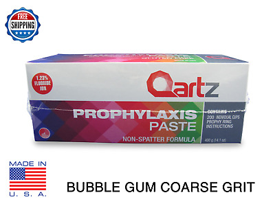 Qartz Prophy Paste Cups BUBBLE GUM COARSE 200/Box  Dental NonSplatter W/Flouride