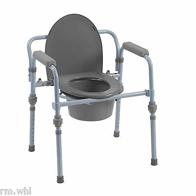 Folding Bedside Commode Toilet Safety Frame Support with Splash Guard Drive Med