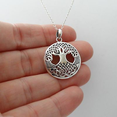 Celtic Tree of Life Pendant 925 Sterling Silver Family Roots Trinity Knot NEW