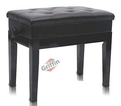 Black Leather Piano Bench - Griffin Storage Adjustable Artist Wood Keyboard Seat