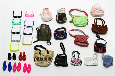 8 items=4* Fashion Bags+2 paris glass+2 pairs shoes For 11.5in.Doll Accessories
