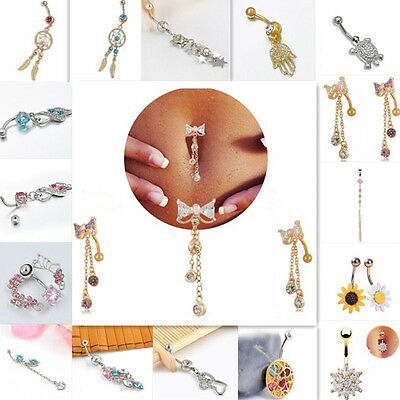 1pc New Crystal Belly Navel Button Dangle Tassel Chain Bar Ring Body Piercing