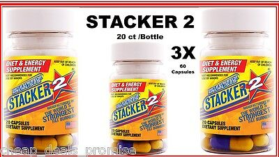 Stacker 2 Capsules 20ct Bottle (USA) Herbal Dietary Supplement (Lot of 3 X) = 60