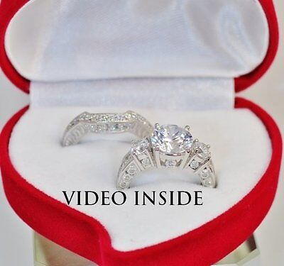 2Pieces Brilliant Cut Engagement Ring Wedding Band Sterling Silver