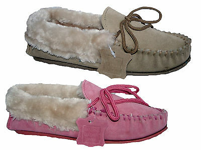 Ladies Suede Leather Uppers Moccasin Slipper In Pink And Beige Sizes 3-8