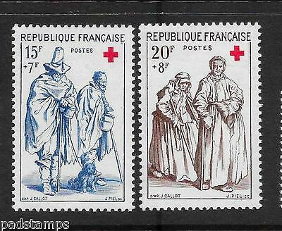 France 1957 Red Cross Fund pair  vf mint never hinged SG 1365 - 1366